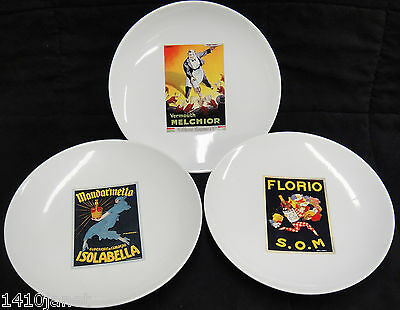 """Pottery Barn Vintage Cocktail 8"""" Plates Lot of 3 Florio Melchior Isolabella"""