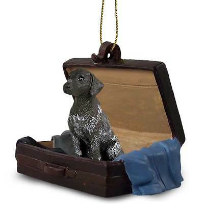 German Shorthaired Pointer Figurine Companion in a Suitcase Ornament with Stand