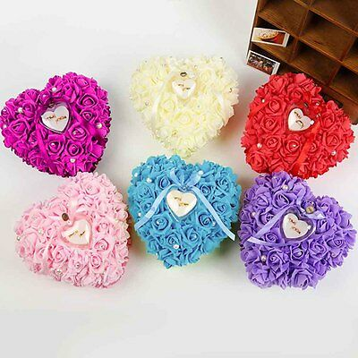 Romantic Rose Wedding Favors Heart Shaped Gift Ring Box Pillow Decoration GO