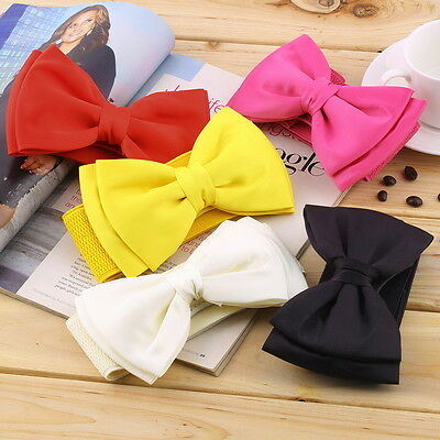Fashion Women Bowknot Elastic Bow /Wide Stretch Buckle Waistband Waist Belt GO