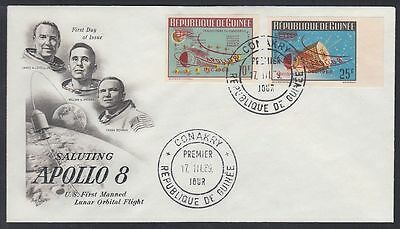 Guinea 1969 FDC Mi.325/26 B with ovpt. APOLLO 8, unlisted, Weltraum Space