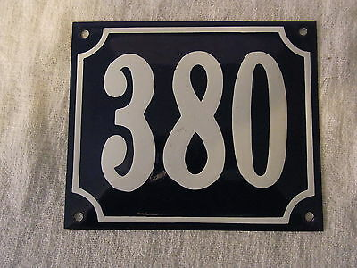 Vintage German Enamel & Iron Sign Blue House 380 #B