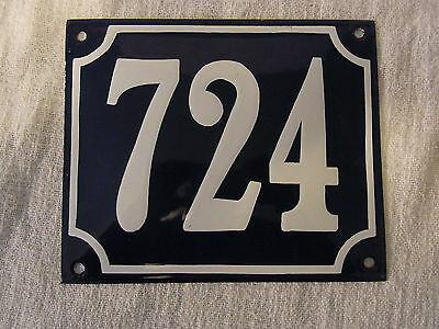 Vintage German Enamel & Iron Sign Blue House 724 #B