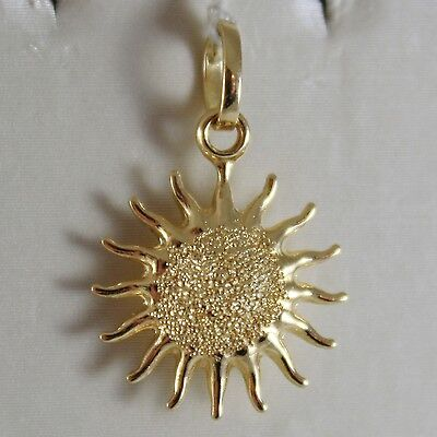 18K Yellow Gold Rounded Sun Charm 2 Cm Pendant Shiny And Satin, Made In Italy