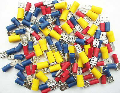 MALE and FEMALE SPADE Terminals 100 Pk. Crimp Connectors. Red, Blue & Yellow
