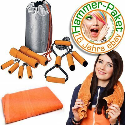 12 Jahre eSALE Lady Fitness Set orange:Expander Softhanteln Springseil Handgrips