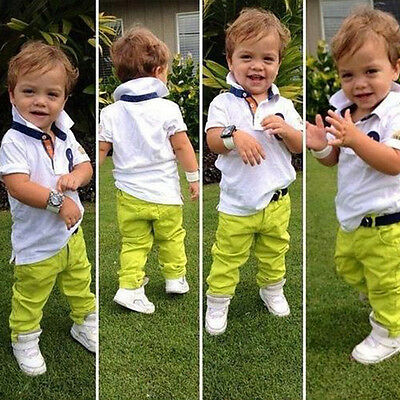 2Pcs Toddler Baby Boys Dress White Shirt + Green Pants Set Kids Clothes Outfits