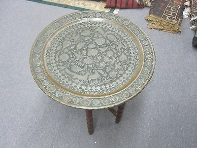 Vintage Persian Tray Table  Etched Islamic Copper Ghalamzani Esfahan  22.5""