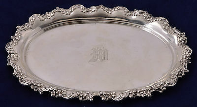 Antique Mauser Manufacturing Co. Floral Repousse Sterling Silver Oval Plate Dish