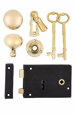 Cast Iron Rim Lock set with Doorknobs, Key escutcheon, & Rosette