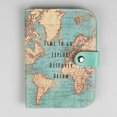 PVC Passport Holder - Blue Vintage Map design. Sass and Belle