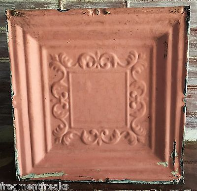 "12"" x 12"" Antique Tin Ceiling Tile *SEE OUR SALVAGE VIDEOS* Vintage Pink G1"