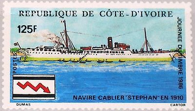 IVORY COAST ELFENBEINKÜSTE 1986 912 782 Stamp Day Cable Ship Kabelschiff MNH