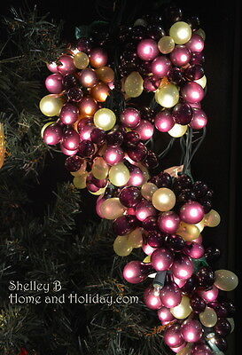 Light Strand with Grape and Leaves 5 clusters  NEW kaul1181 Christmas decor