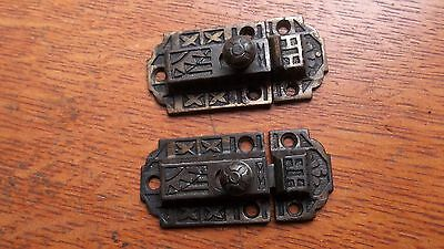 Two Matching Antique Fancy Victorian Iron Cabinet Latches Pat. 1871 - Unusual