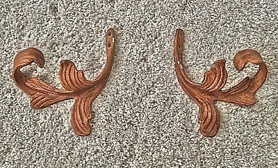 "Set of 2: ANTIQUE DRAPERY CO Bronze Leaf Motif Tieback Pair 6.5"" x 6"""