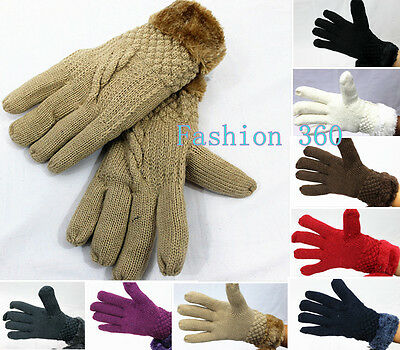 Fur Lining Thick Warm Women Winter Gloves/Knitted Full Finger Gloves/Mittens
