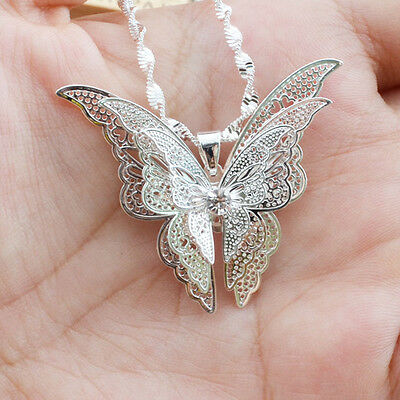 Hot Exquisite Women Lady Silver Plated Butterfly Necklace Pendant