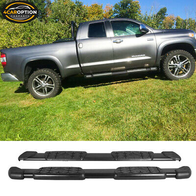 Fits 07-18 Toyota Tundra Double Cab Black Side Step Running Board Pair