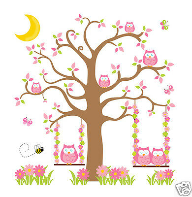 Pink Green Brown Owl Tree Mural Wall Decals Baby Girl Woodland Nursery Stickers
