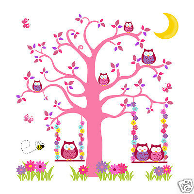 Pink Purple Owl Tree Mural Wall Decals Baby Girl Woodland Animal Nursery Sticker