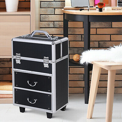 Rolling Makeup Case Train Cosmetic Jewelry Organizer w/ Drawers Black