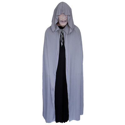 Gray Cloak with Large Hood ~ HALLOWEEN WIZARD MEDIEVAL RENAISSANCE COSTUME CAPE