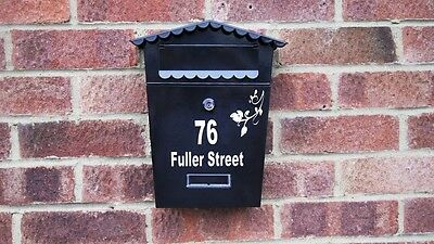 Personalised Black Lockable Letter Mail Post Box Mailbox Letterbox Postbox New