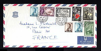 6398-FIJI ISLANDS-AIRMAIL COVER SUVA to PARIS (france) 1961.BRITISH Colonies