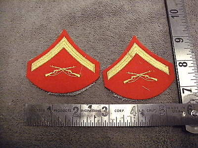 USMC Gold on Red  Lance Corporal Rank Patches , Red Felt Backing , smaller type