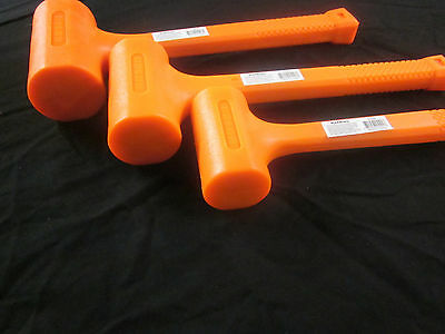 3pc UNI-CAST 2LB 3LB 4LB HI-VIZ NEON ORANGE DEAD BLOW HAMMER MALLET NON-SPARKING