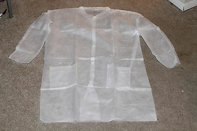 White Disposable Lab Coats Prima Tech Extra Large XL 30 Per Case KMQ Code 334428