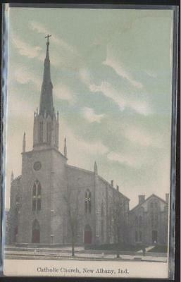 Postcard NEW ALBANY Indiana/IN  Catholic Church w/Tall Steeple view 1907