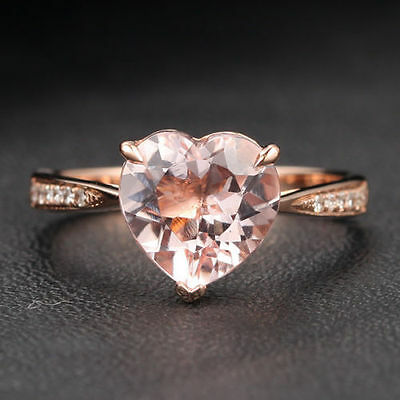 Solid 14K Gold Heart Shape 2.35ctw Morganite Engagement Diamonds Ring Claw Prong