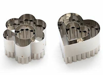 Dexam Double Sided Vol-au-Vent Cutter in Heart or Flower Shape