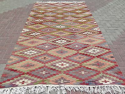 "Vintage Anatolia Turkish Antalya Kilim 66,9"" x 116,5"" Large Area Rug Carpet Rugs"