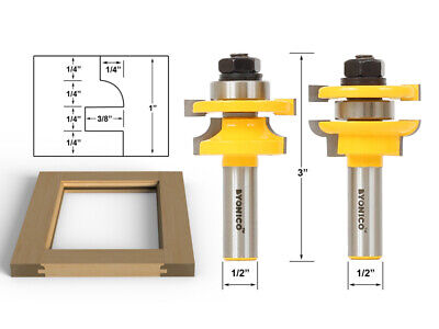 Rail & Stile Router Bits - Matched 2 Bit Round-over -  12241