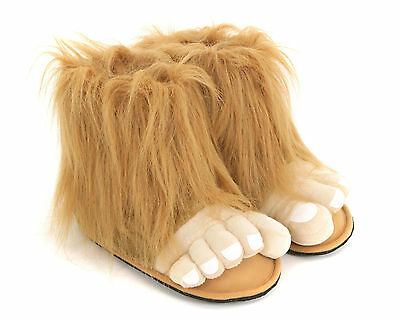 Mens & Boys Bigfoot Brown Funny Novelty Slippers Size 6 to 12 UK - GREAT GIFT