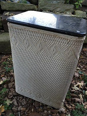 Vintage White Wicker Clothes Hamper With Black Lid