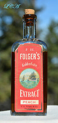 Old FOLGER'S Golden Gate EXTRACT bottle w/pic CLIPPER SHIP S.F. CAL COFFEE Fame