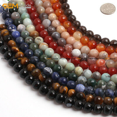 """Round Faceted Genuine Gemstone Jewelry Making Beads Wholesale 15"""" Natural Stone"""