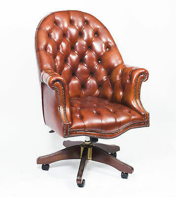 English Hand Made Leather Directors Desk Chair