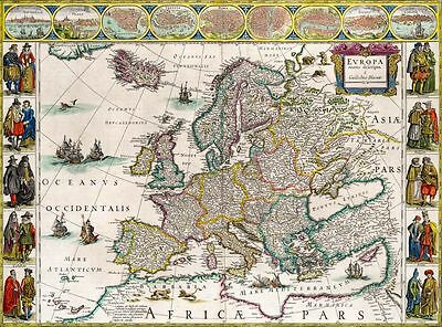 1850 Vintage Colton Map Of Europe Canvas Print Poster 24x18