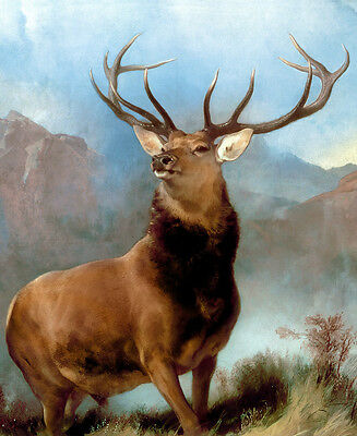 "Edwin Landseer CANVAS PRINT The Monarch of the Glen Stag Deer poster 24""X16"""