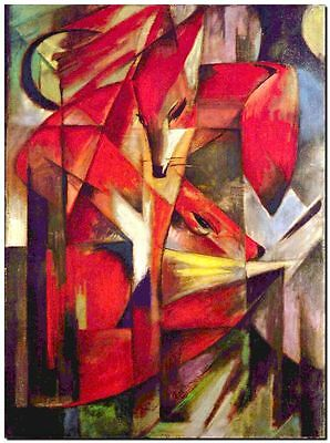 """Franz Marc Vintage Abstract Art CANVAS PRINT The Fox poster 24""""X16"""""""