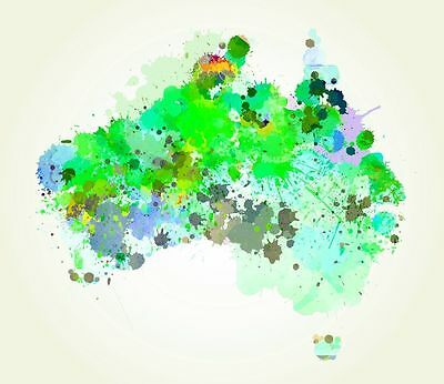 """Modern Abstract colourful Map of Australia CANVAS PRINT poster green 24""""X18"""""""