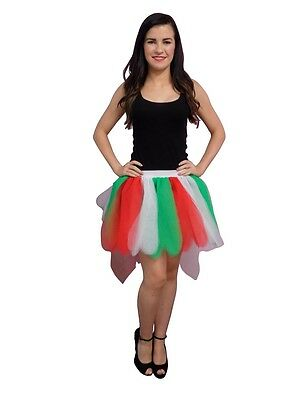 Neon Red White Green 8 Layer Tutu Skirt with Bustle Christmas 80's Fancy Dress