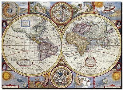 "Old World Map 1627 CANVAS PRINT 24""X16"" Vintage Antique Poster"