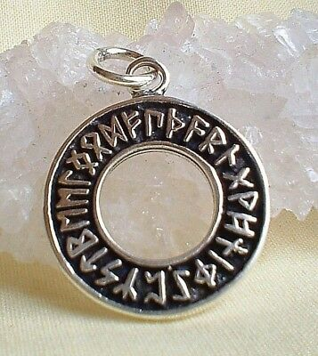 Solid 925 Silver Rune Runes Runic Circle Pendant Necklace~Norse~Pagan Jewellery