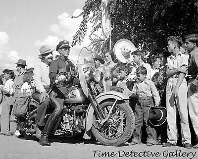 New Mexico State Police Officer on Motorcycle - c1940 - Historic Photo Print